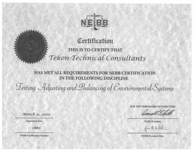 Certification - Tekon Building Systems Commissioning