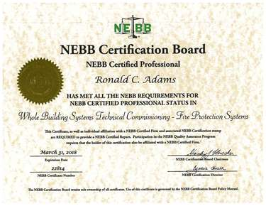 Certification - Ronald Adams Commissioning Fire Protection