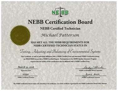 Certification - Mike Patterson Tekon Air and Hydronic Systems