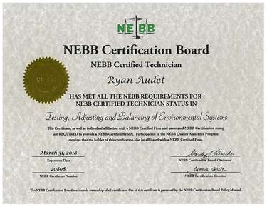 Certification - Ryan Audet Tekon Air and Hydronic Systems